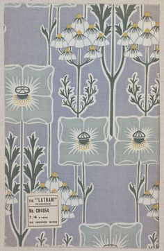 """Latham"" (ca 1910)This cotton furnishing fabric was designed and manufactured for Liberty & Co. of London. It was duplex-printed, a process where the same pattern is roller-printed or screen-printed on to both sides of the fabric, making this stylised tree and flower design completely reversible. Ground printed pale blue with a repeating pattern of vertical stems bearing large single stylised flower heads and blossom clusters in white, mid-green, eau-de-nil and yellow."