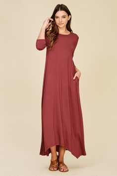 8d1573a7e17 3 4 Sleeve Maxi Dress Style  D5212 Knit dress featuring solid