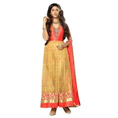 Beige and Orange Net Indian #Anarkali Suits With Dupatta- $45.07