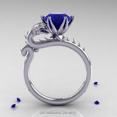Art Masters 14K White Gold 3.0 Ct Blue Sapphire Dragon Engagement Ring…