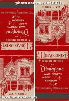 ... of the vintage matchbook covers you could have found at Disneyland (thanks to Bill H.!), conveniently shown flipped both ways so that you don't have to ...