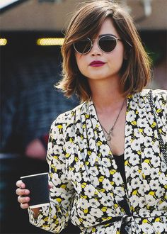 This hair and that lip colour is actual goals Glastonbury Festival - 27 June 2015 Gorgeous Jenna Coleman beautiful hair goals