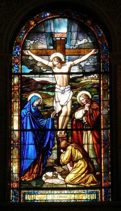 Stain glass widow of the crucifixion of our Lord.