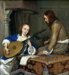 A Woman Playing the Theorbo-Lute and a Cavalier (ca. Gerard ter Borch (Dutch, Oil on wood, Metropolitan Museum of Art. Ter Borch was an exceptionally gifted observer of social. Metropolitan Museum, Johannes Vermeer, Dutch Golden Age, Baroque Art, Dutch Painters, European Paintings, Dutch Artists, Rembrandt, Art Music