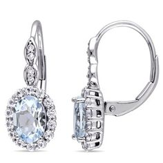 Tangelo Carat T. Oval-Cut Sky Blue Topaz, White Topaz and Diamond-Accent White Gold Halo Earrings, Women's, Metal Type White Topaz, Blue Topaz, White Gold, Blue Sapphire, Gold Drop Earrings, Dangle Earrings, Aquamarine Earrings, Vintage Earrings, Fashion Earrings