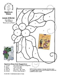 Free Stained Glass Pattern 2220-Leaves & Berries