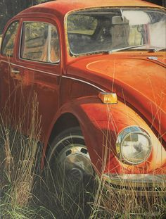 Bug In The Grass by Nancy Teague -- Painting -- Acrylic On Canvas -- fineartamerica.com (orange volkswagen)