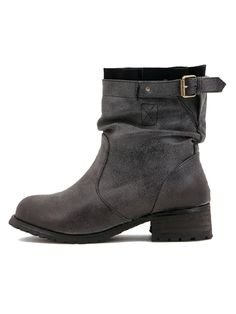 Black Vintage Buckle Slouch Boots | Choies