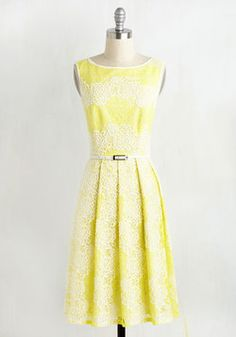 Timeless Vibrance Dress. If an era is marked by its fashionable milestones, then this yellow A-line by Adrianna Papell is the shine of the times! #yellow #modcloth