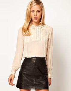 Enlarge ASOS Blouse With Lace Trims And Delicate Pintucks