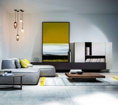 Un salon comme un paysage, gris jaune et brun, pour une décoration chic