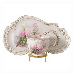 Blushing Pink Rose Tea Cup and Pale Set