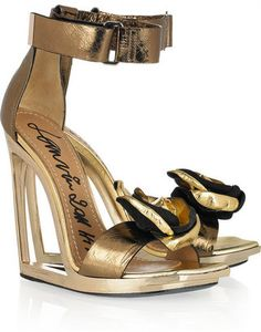 Lanvin Frame-wedge metallic-leather sandals