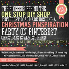 Save the date for a LIVE Party on Pinterest with your favorite bloggers right here on this Pinterest board on Decemeber 3rd!  Get TONS of Christmas ideas, enter awesome giveaways, and score some FREE party favors!  CLICK HERE for all the deets and to RSVP!!