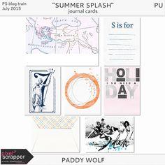 Free Summer Splash Journal Cards | Paddy Wolf | July 2015 Pixel Scrapper Blog Train