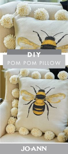 Learning to make your own pom poms—doesn't that just sound like the best craft idea? Check out how you can put your new skills to use by creating this DIY Pom Pom Pillow from Jo-Ann for your spring home decor. Fun Crafts, Diy And Crafts, Arts And Crafts, Pach Aplique, Fabric Crafts, Sewing Crafts, Craft Projects, Sewing Projects, Craft Ideas