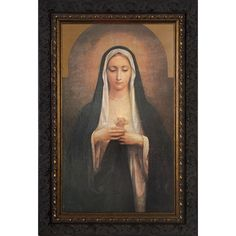 """Immaculate Heart of Our Blessed Mother"", Artist Unknown. Old-style, wood-framed print of Our Lady and her Immaculate Heart. Printed and framed in the USA. Catholic Art, Religious Art, Catholic Store, Catholic Company, Catholic Gifts, Religious Icons, Roman Catholic, Blessed Mother Mary, Blessed Virgin Mary"