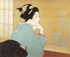 Japanese painting work by 上村松園 - Uemura Shōen Japanese Drawings, Japanese Prints, Japan Painting, Painting Prints, Paintings, Asian Artwork, Japanese Modern, Japanese Beauty, Art Asiatique