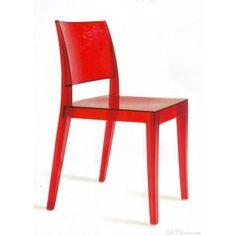 chaise design rouge GYZA et chaises rouge design transparente.
