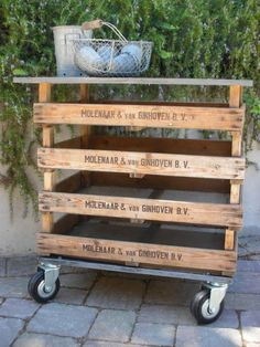 great rolling cart made with pallets - Click image to find more Gardening Pinterest pins