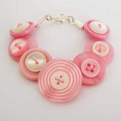 baby pink button bracelet