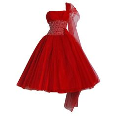1950's Ruby-Red Sequin Tulle Strapless Circle-Skirt Party Dress
