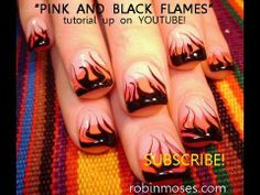 (found in the hot nail playlist)  pink and black flames....no water marbling technique. what else can i say? sexy. badass. if you do them say robin moses inspired you cuz im copyrighted and its all i ask that you do for all my teaching!!!!    yummyliciouso. fun.  hot.    signed,  your nail art wizard PHD  My Youtube: http://www.youtube.com/user/robinm...