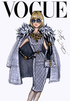 CELEBRITIES ☆ Anna Wintour (Editor-in-Chief of American Vogue Magazine), September Issue - Illustration by Hayden Williams