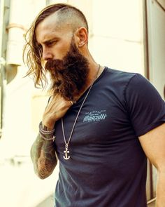 full thick dark beard mustache beards bearded man men mens' style tattoos tattooed #beardsforever