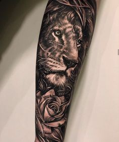 Pin on Tattoo Half Sleeve Tattoos Forearm, Bicep Tattoo Men, Unique Half Sleeve Tattoos, Lion Forearm Tattoos, Lion Tattoo Sleeves, Inner Bicep Tattoo, Lion Head Tattoos, Dope Tattoos, Best Sleeve Tattoos