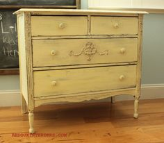 Dresser rescued from the trash.  Johnston Daffodil from CeCe Caldwell's used to finish it.