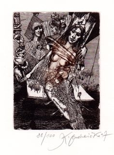 K. Ondreicka.   – ex libris for F. Hulin -1997
