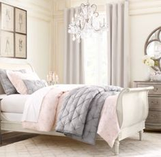 quatrefoil mirror for master bedroom, love the chandelier and soft gray and pink accents!