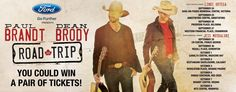 Road Trip Tour Ticket Giveaway! Enter for a chance to win two tickets to see Dean Brody & Paul Brandt in Victoria, Abbotsford, Kelowna, Cranbrook, Prince George, Edmonton, Medicine Hat, Calgary, Grande Prairie, Red Deer, Regina or Winnipeg.