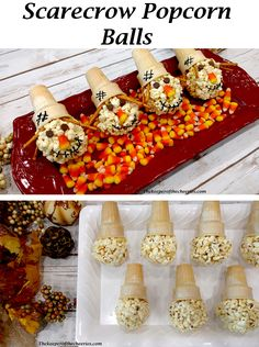 Silly Scarecrow Popcorn Balls - The Keeper of the Cheerios Halloween Desserts, Halloween Popcorn, Halloween Treats, Halloween 2019, Halloween Party, Fall Snacks, Fall Treats, Holiday Treats, Thanksgiving Treats