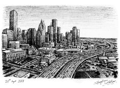 Downtown Houston, TX  Stephen Wiltshire  pen drawing  Date: 20 August 2007  Size: 291 x 210mm (A4)