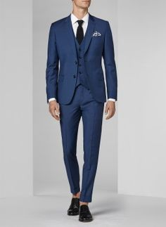 Costume bleu paon - Micro armuré 16EC3FOBG-F502/35 - Costume slim homme Wedding Men, Wedding Suits, Blue Wedding, Three Piece Suit, 3 Piece Suits, Costume Marie Bleu, Wedding Blazers, Costume Bleu Marine, Costume Slim