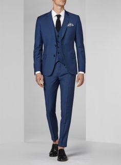 Costume bleu paon - Micro armuré 16EC3FOBG-F502/35 - Costume slim homme