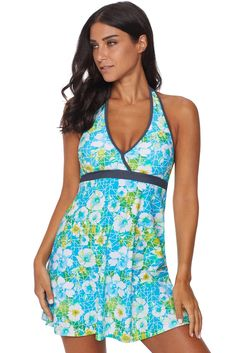 b92fc7e322 Women Green Floral Print Empire Waist Halter Neck 2 PC Tankini Swim Dress Swimsuit  Set