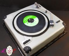 "Groom's Cake - Record Player with Led Zeppelin ""Whole Lotta Love"" 45 by Heavenly Confections of Athens, Ohio"