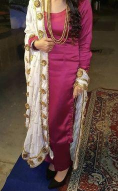Pakistani Fashion Party Wear, Indian Fashion Dresses, Pakistani Dresses, Fashion Outfits, Dress Fashion, Stylish Dress Designs, Stylish Dresses, Simple Dresses, Embroidery Suits Punjabi