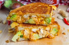 grilled cheese with chicken, avocado, and spicy peanut sauce