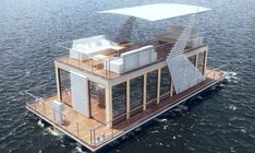 Amazing Boat House You Will Love. What do you think about living on a river or a lake, for example by using a floating house. One thing you think about is a lot of mosquitoes and slums. Pontoon Houseboat, Houseboat Living, Pontoon Boat, Floating Boat, Floating House, Boat Building, Building A House, Green Building, Floating Architecture