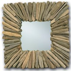 A beautifully crafted mirror. The natural driftwood evokes an earthy tone and feel. The colors and hues of driftwood may vary from mirror to mirror. This rustic addition to a room looks fantastic in sets or multiples on a wall. Measures 21sq x 3d.