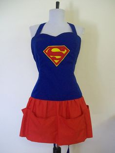 Super Hero Apron Super Girl in the Kitchen by kitschyAprons