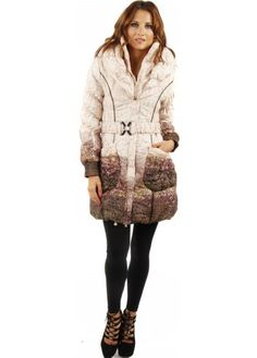 Monton Pink & Black Bobble Knit Coat With Black Faux Fur Trim ...