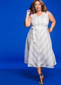 Shadow Stripe V-Neck A-Line Dress