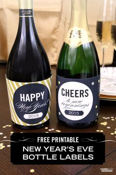 Dress up your champagne and wine bottles with these festive New Year's Eve bottle label wrappers ( free printable download), from Elegance and Enchantment.
