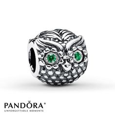 Pandora Wise Owl Charm Green CZ Sterling Silver