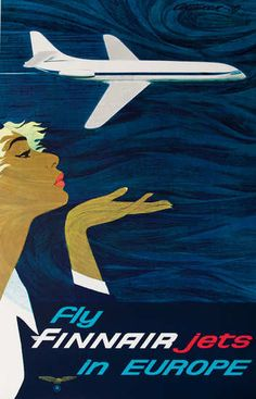 So into this design on Fab! Fly Finnair Jets in Europe Pacific Cruise, Sud Aviation, Vintage Travel Posters, Vintage Airline, Poster Ads, Old Ads, Vintage Cards, Tourism, Travel Ads